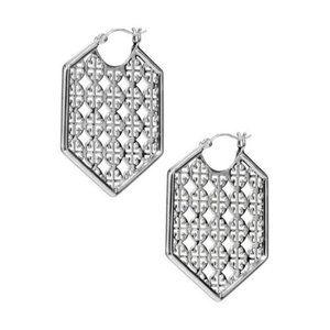Tory Burch Silver Logo Hexagon Hoop Earrings